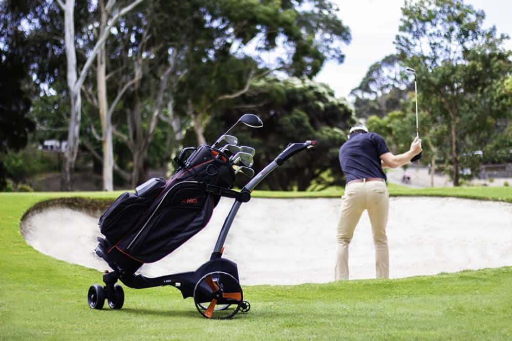Mgi zip x3 lithium golf buggy grey on golf course