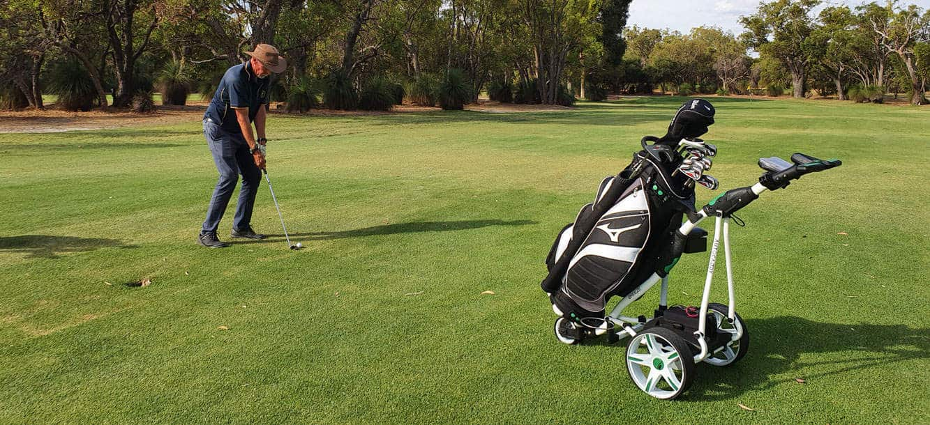 Autocaddy electric golf buggy on the golf course